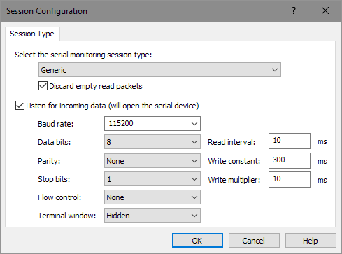 Session Configuration Window