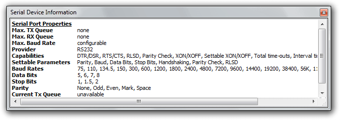 Serial Device Information Window
